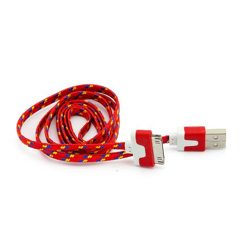 7138-Cabo-USB-Flat-30-Pinos-para-iPhone-4-iPad-iPod-Vermelho-Cirilo-Cabos