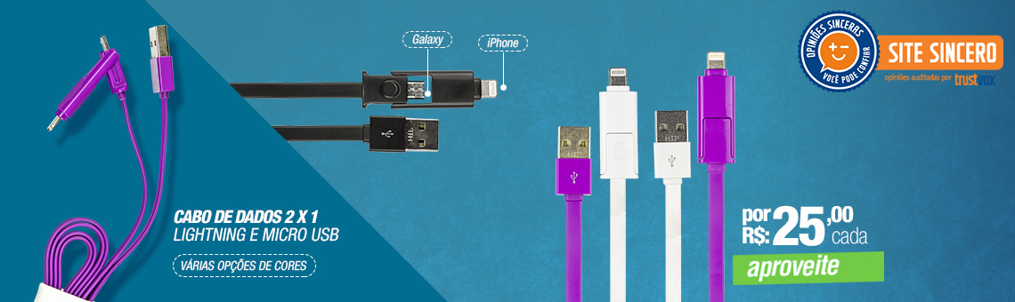 Cabo de Dados 2 x 1 - Lightning e Micro USB - iPhone e Galaxy