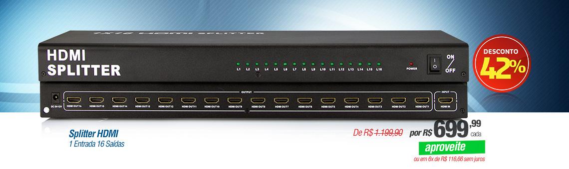 Splitter HDMI - 1 Entrada 16 Saídas