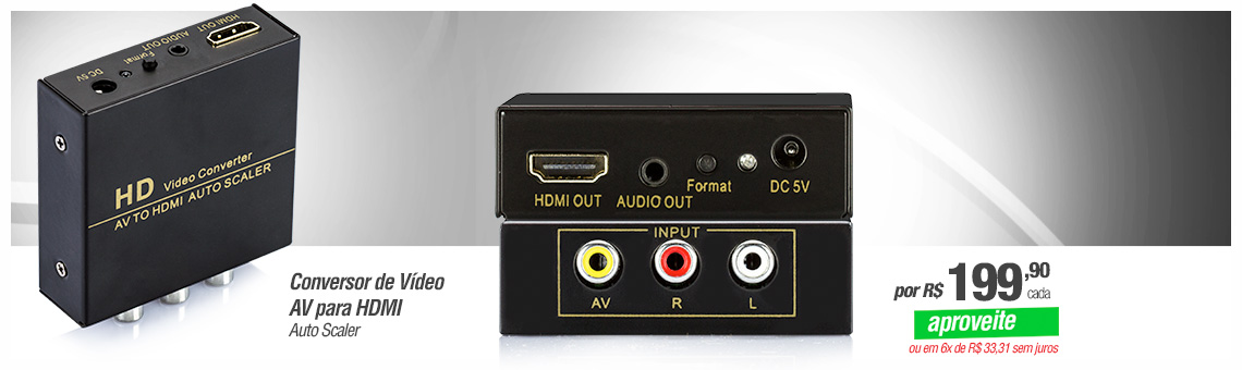 Conversor de Vídeo AV para HDMI - Auto Scaler