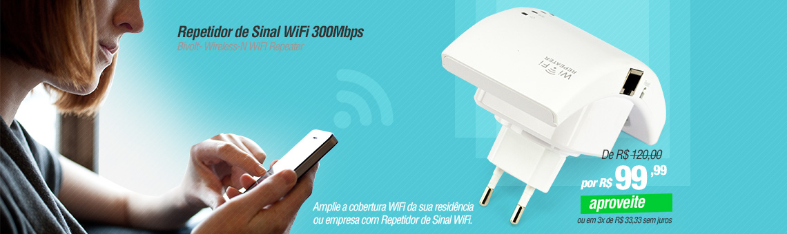 Repetidor de Sinal WiFi 300Mbps Bivolt- Wireless-N WIFI Repeater