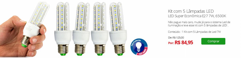 Kit com 5 Lâmpadas LED Super Econômica E27 7W, 6500K