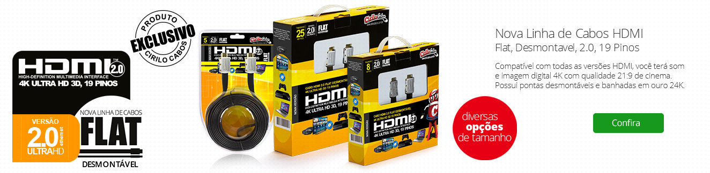 Nova LInha de Cabos HDMI 2.0 Flat