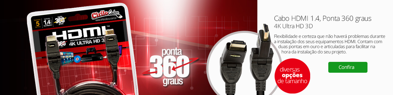 Cabo HDMI 1.4, Ponta 360 graus, 4K Ultra HD, 3D