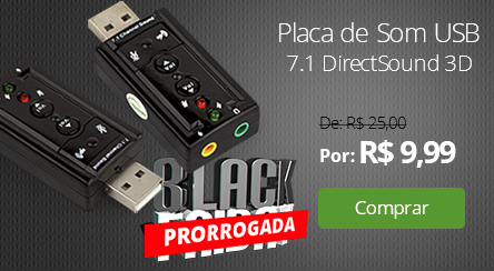 Placa de Som USB 7.1 DirectSound 3D