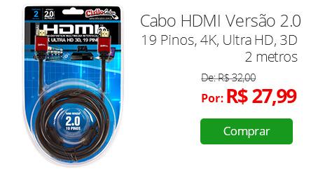 Cabo HDMI Versão 2.0, 19 Pinos, 4K, Ultra HD, 3D - 2 metros