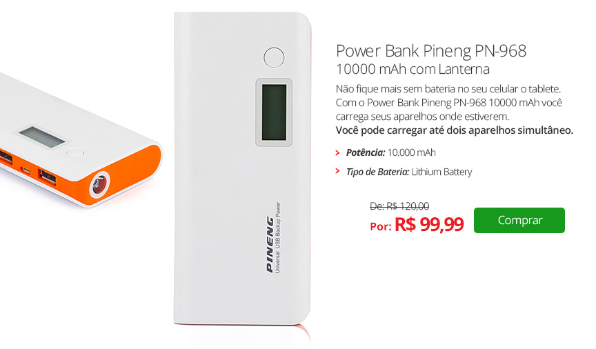 Power Bank Pineng PN-968 10000 mAh com Lanterna