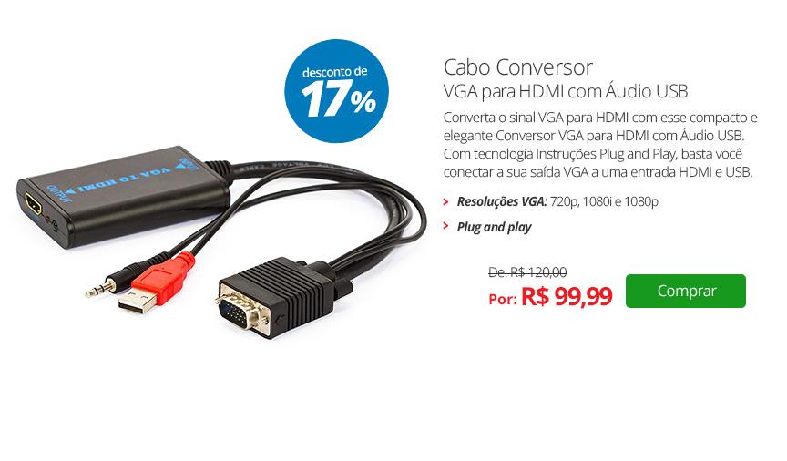 Cabo Conversor VGA para HDMI com Áudio USB
