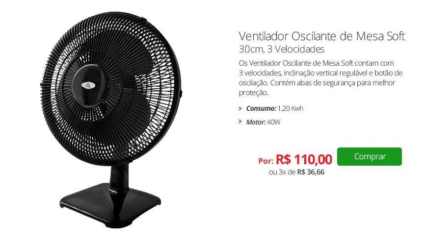 Ventilador Oscilante de Mesa Soft, 30cm, 3 Velocidades