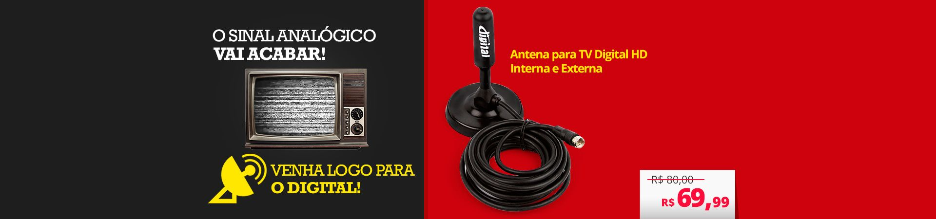 Antena Digital Interna e Externa