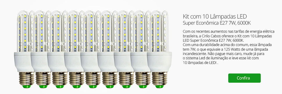 Kit com 10 Lâmpadas LED Super Econômica E27 7W, 6000K