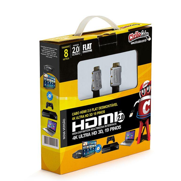 7557-Cabo-HDMI-2-0-FLAT-Desmontavel19-Pinos-4K-Ultra-HD-3D-8-metros-cirilocabos