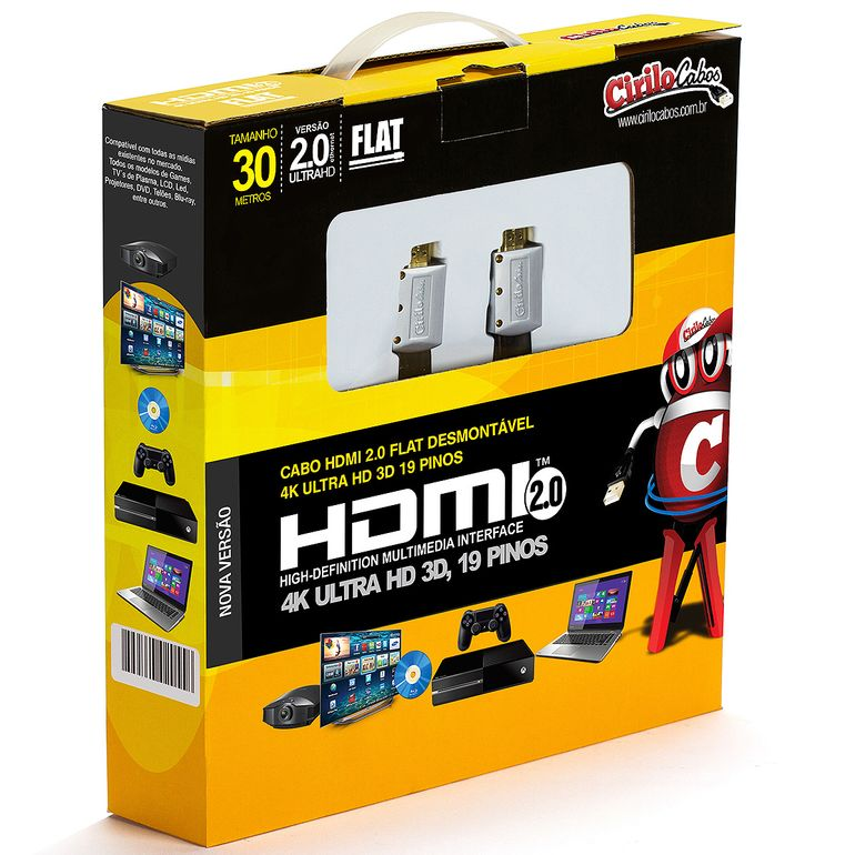 7563-Cabo-HDMI-2-0-FLAT-Desmontavel19-Pinos-4K-Ultra-HD-3D-30-metros-cirilocabos