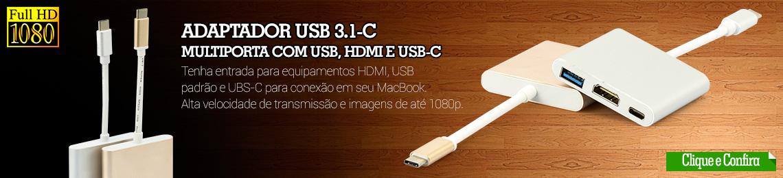 cabos-mac-book - Adaptador USB-C Multiporta com USB, HDMI e USB-C