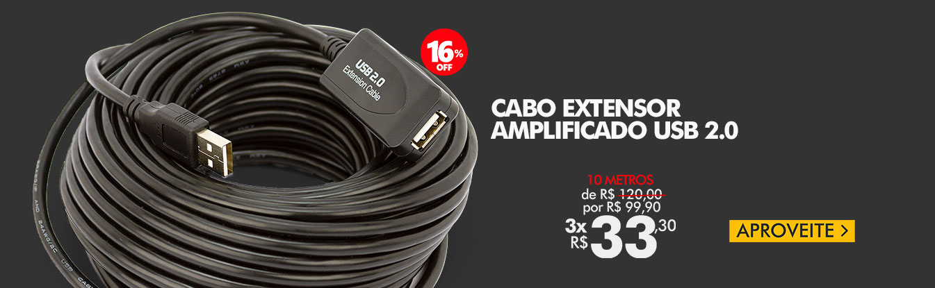 Cabo Extensor Amplificado USB 2.0