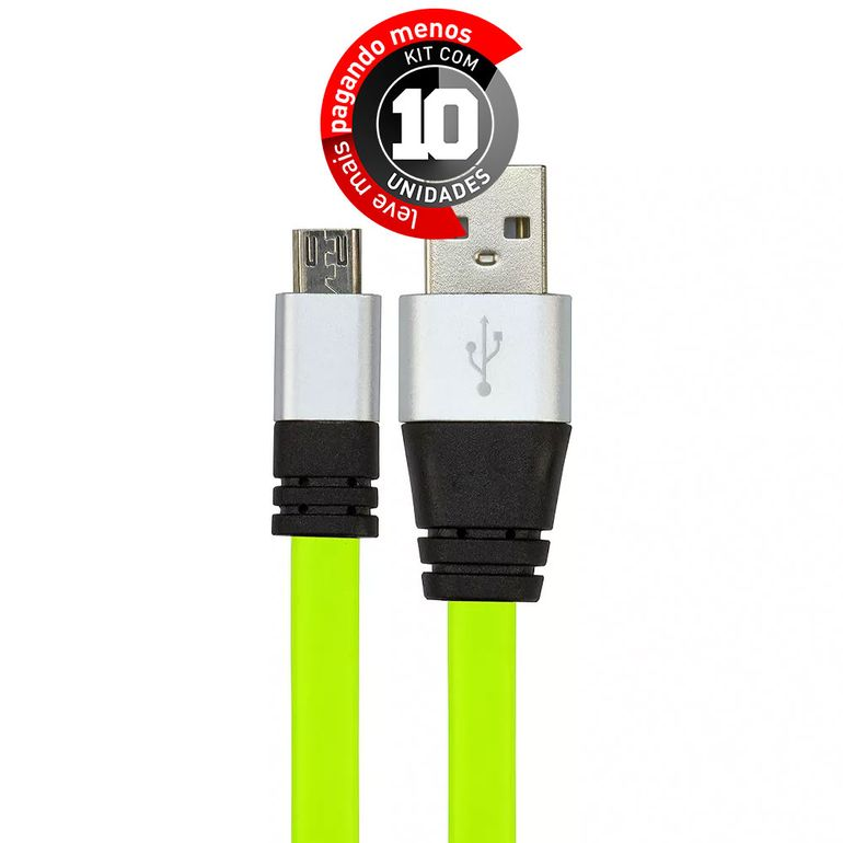 cabo-usb-de-silicone-carregador-e-dados-celular-micro-usb-verde-cirilocabos-7971-kit-com-10-1