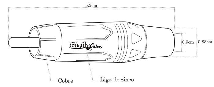 Conector RCA Linha Gold - Preto - Cirilo Cabos