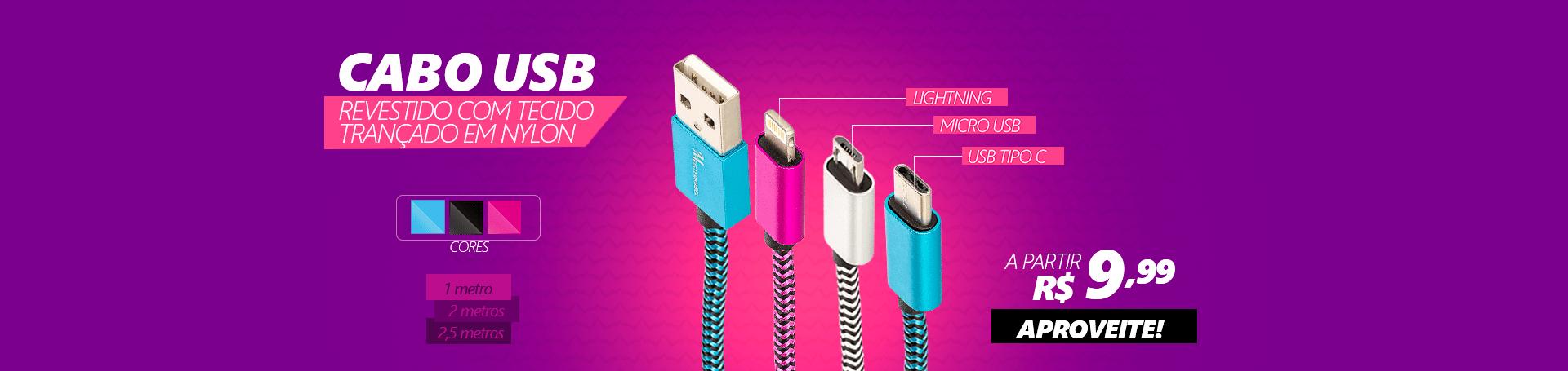 Cabo USB Revestido com Tecido Trançado em Nylon