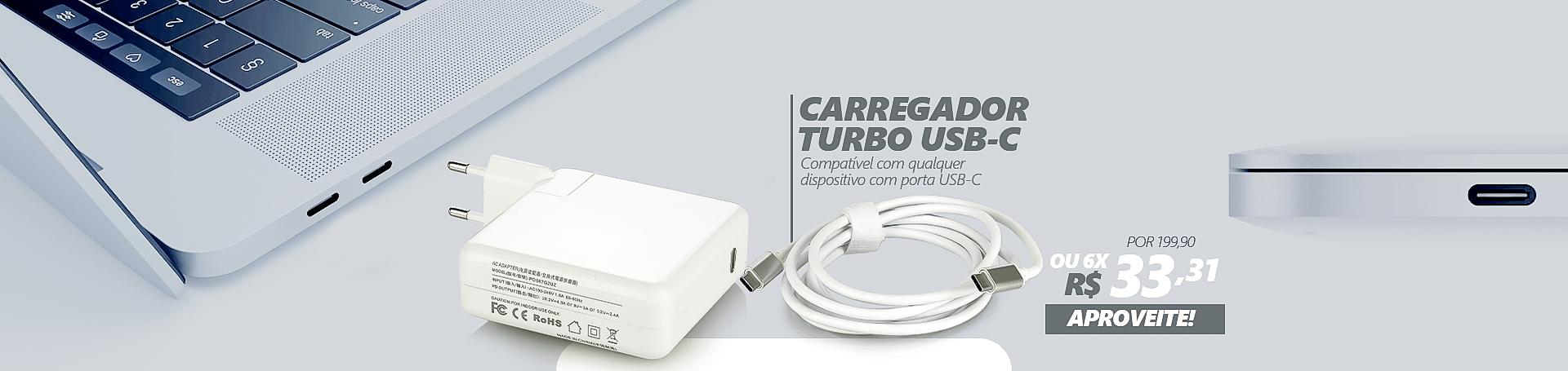 Adaptador de Tomada Turbo + Cabo USB-C,