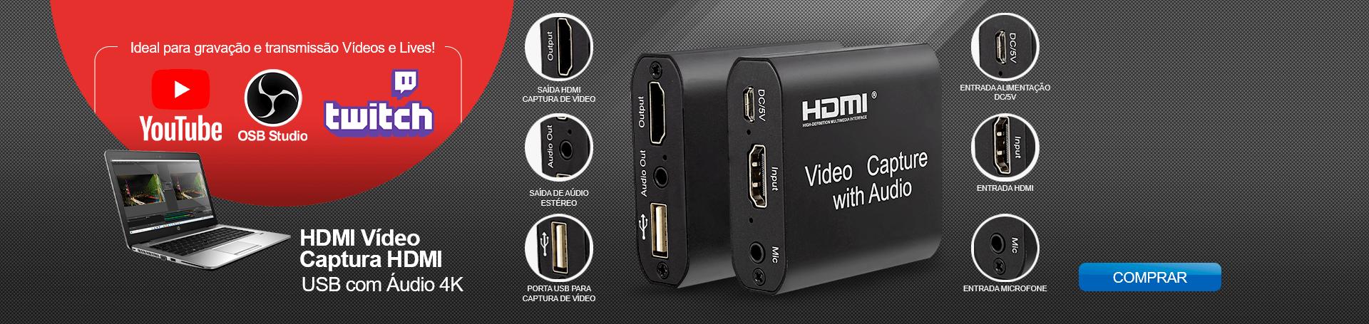 BANNER DESKTOP HOME - HDMI Vídeo Captura HDMI, USB com Áudio 4K