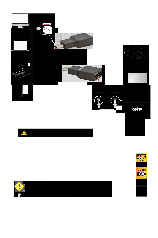 ADAPTADOR DE ALUMÍNIO USB TIPO-C PARA HDMI 4K 60 HZ