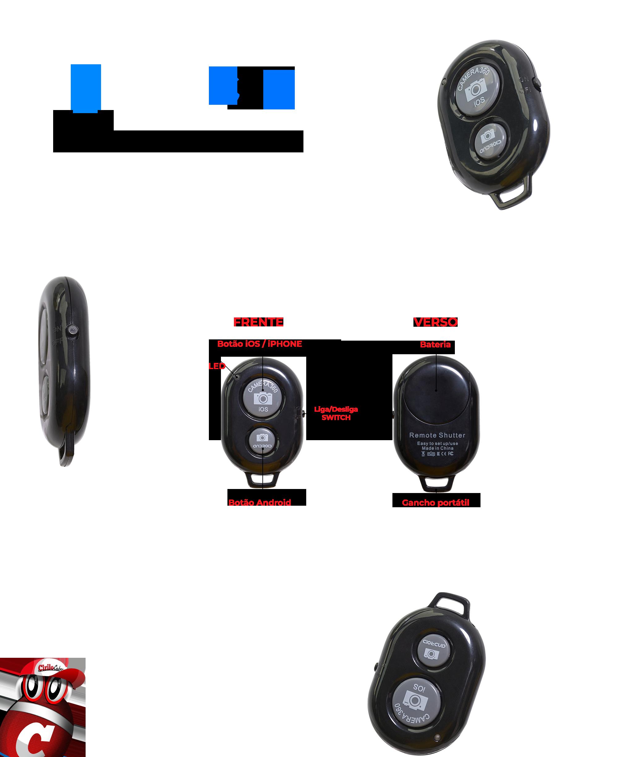 Controle Para Selfie Shutter Bluetooth,  Para  iOS / Android