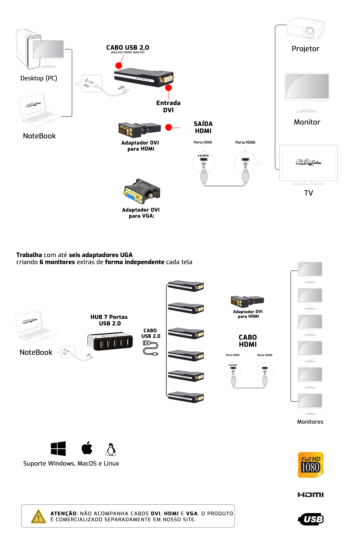 Adaptador USB 2.0 UGA Multi-Display