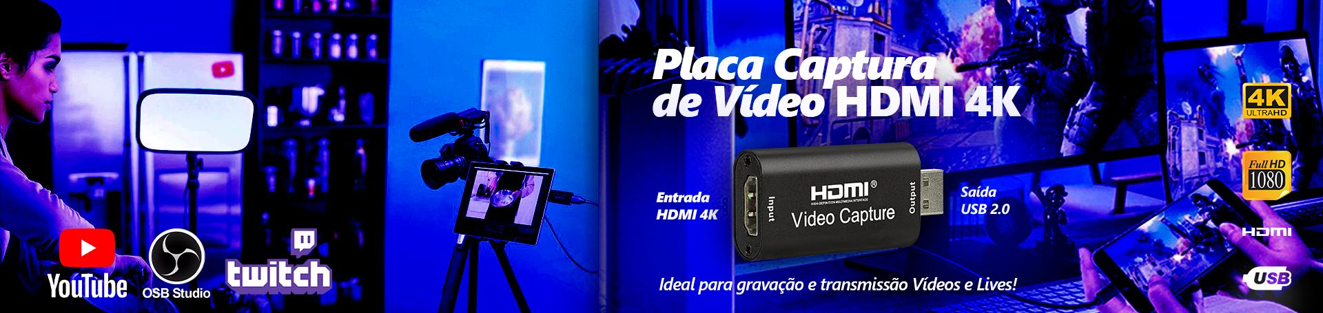 Placa de Captura de Vídeo HDMI USB 4K Streaming