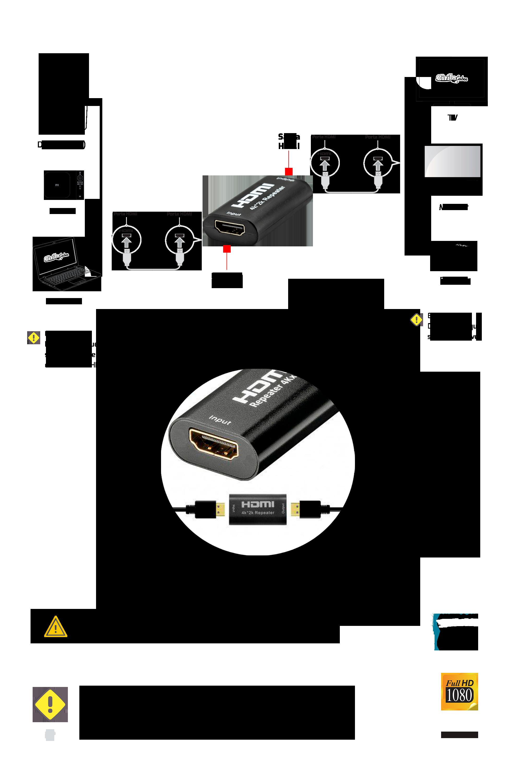 Emenda HDMI 4k 2k com Amplificador de Sinal